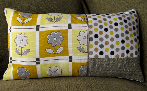 Hand made cushion - vintage and new fabrics and linen