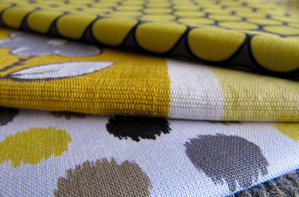 yellow and grey fabric