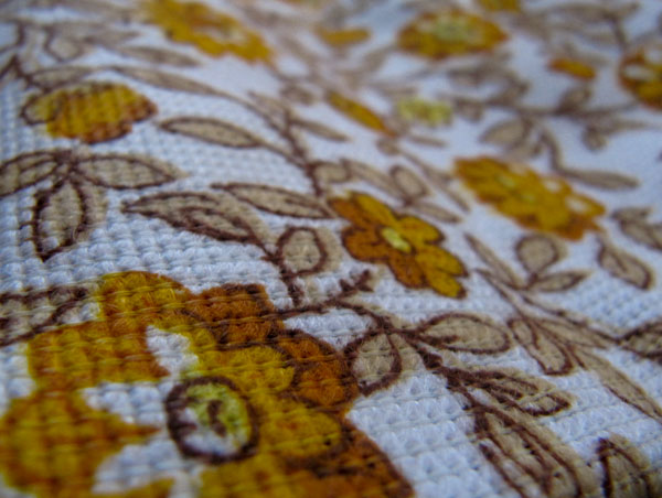 Yellow floral vintage fabric