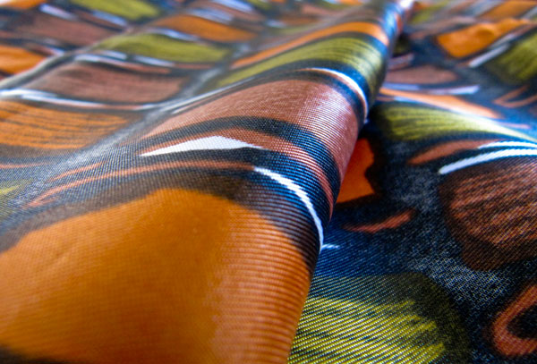 Orange and Green print fabric