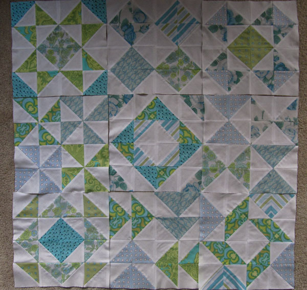 Nine HST quilt blocks