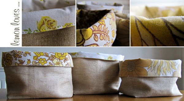 linen and vintage cotton fabric baskets