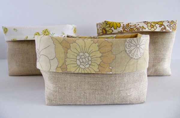 vintage fabric bins