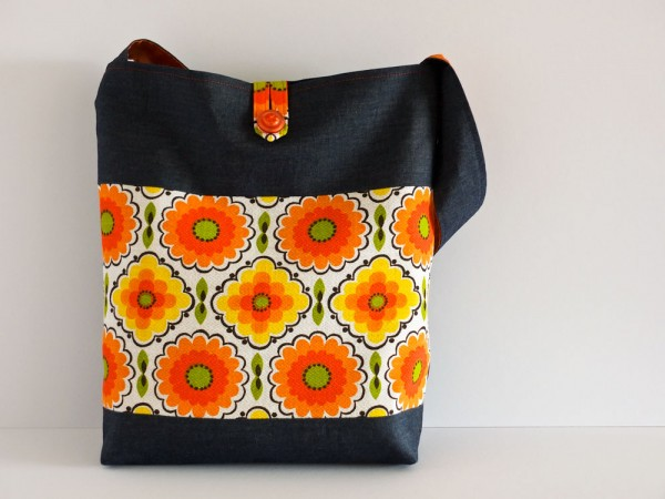 Vintage fabric and denim shoulder bag